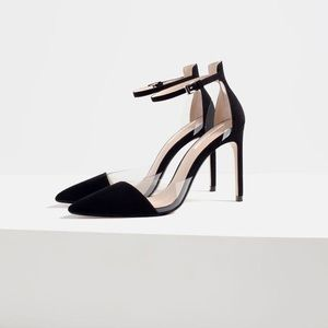 NWT Zara Clear and Black D'Orsay Heels